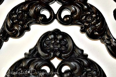plastic mirror corners painted with Fusion Mineral Paint in Coal Black