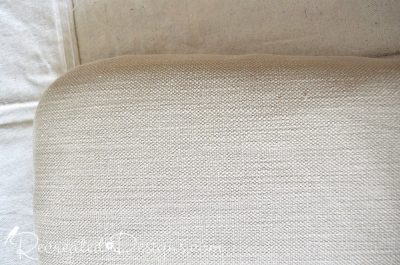 creamy coloured linen fabric used to recover dining room chairs