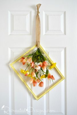 beatufiul yellow Spring picture frame wreath