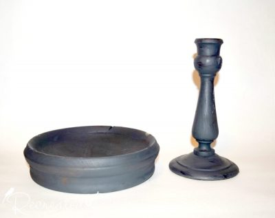 wood bowl and candle stick painted with Fusion Mineral Paint in Ash