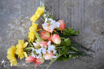 Spring flowers used to a wreath