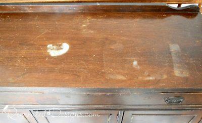 damaged veneer on a vintage buffeet