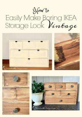 How to easily make boring IKEA storage look vintage