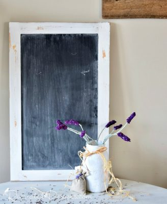 handmade Lavender stems in a reclaimed Mason jar painted white