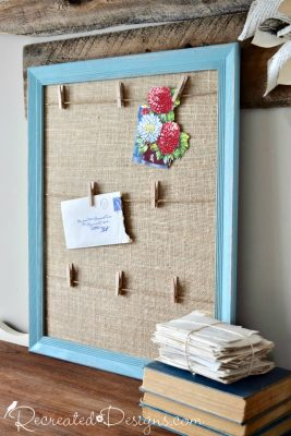 thrift store oak frame painted and turned into a Farmhouse style memory board