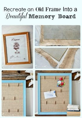turn a thrift store frame into a beautiful Shabby chic Memory Board