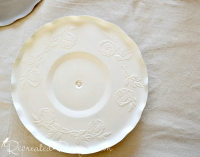 painted silver plate from a thrift store using Fusion Mineral Paint in Limestone