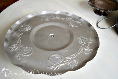 aluminum silver pedistal tray from a thrift store