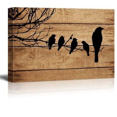 wood looking bird art