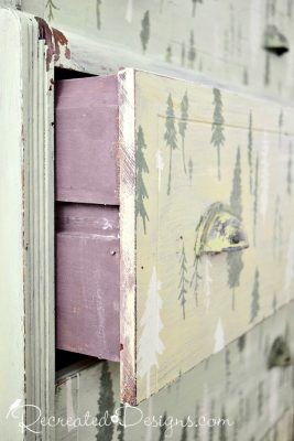 Miss Mustard Seed Milk Paint in Curio on the inside of dresser drawers