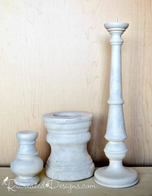 wood and ceramic bases painted white