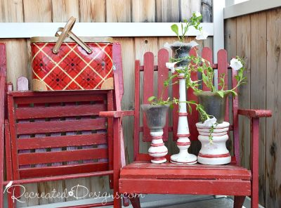 vintage glass light shades turned summer planters in red and white