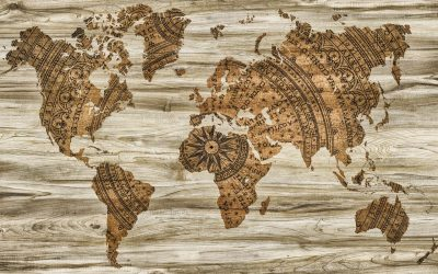 Rustic world map on wood