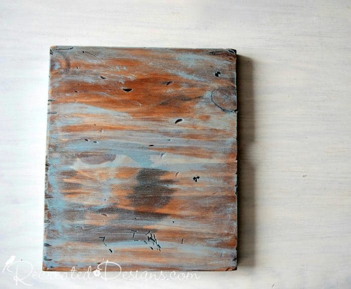 a scrap piece of pine stained and painted with General Finishes products