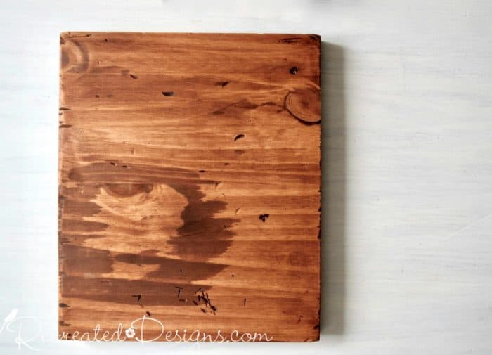 scrap piece of pine stained with General Finishes Nutmeg gel stain