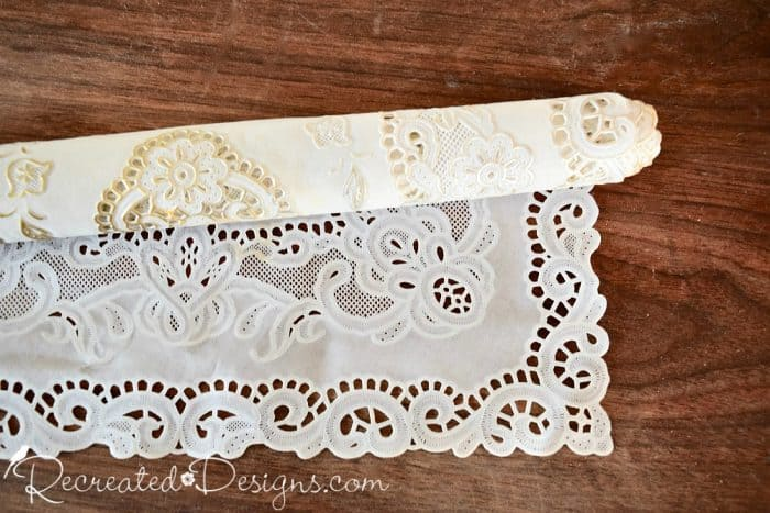 plastic doily used to make the perfect vintage inspired border