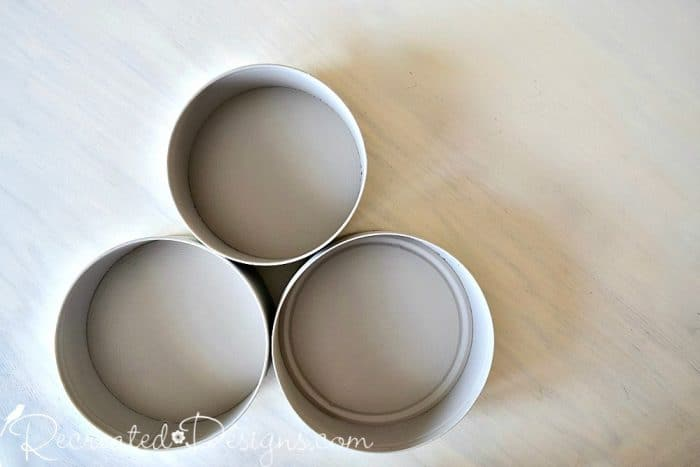 recycled cookie tins painted with Country Chic Paint in Coastal Fog
