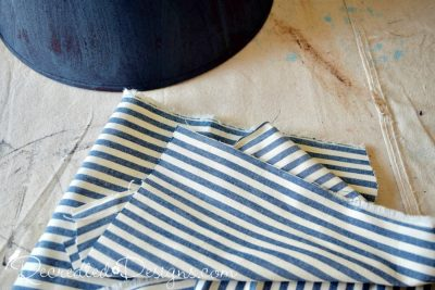 vintage inspired blue and cream striped fabric