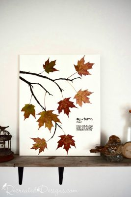 Fall art made with real leaves