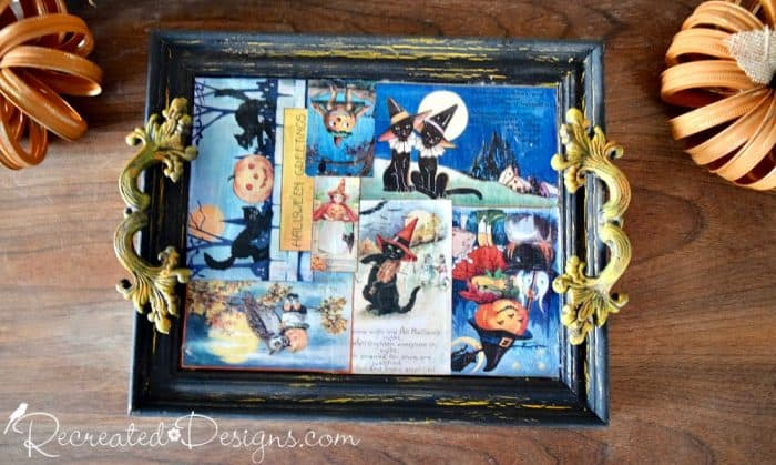 Halloween tray made from upcycled frame