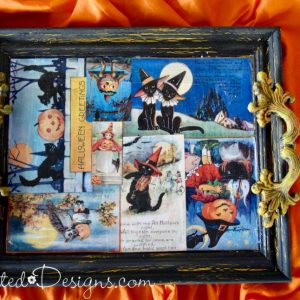 easy Halloween tray made from upcycled frame