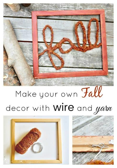 make your own fall decor with a reclaimed frame, wire and autumn coloured wood or yarn