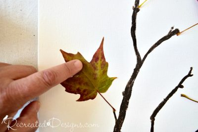 attaching real leaves with spray adhesive
