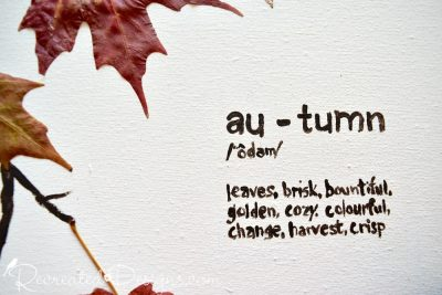 autumn words painted on canvas