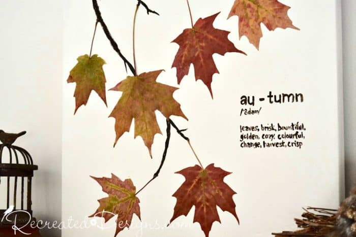 Autumn Art with real leaves and canvas