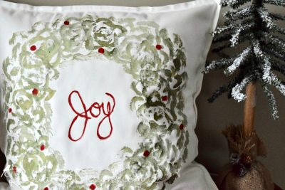 Joy green and red Christmas pillow