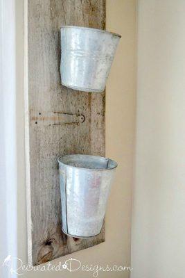 salvaged galvanized buckets