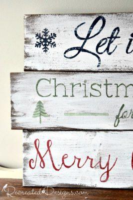 wood made into Christmas signs