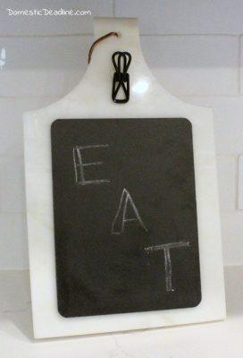Cutting board turned recipe holder