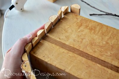 attaching Birch pieces to an old cutting board