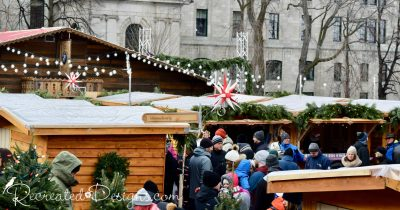 people at the German Christmas market in Quebec City