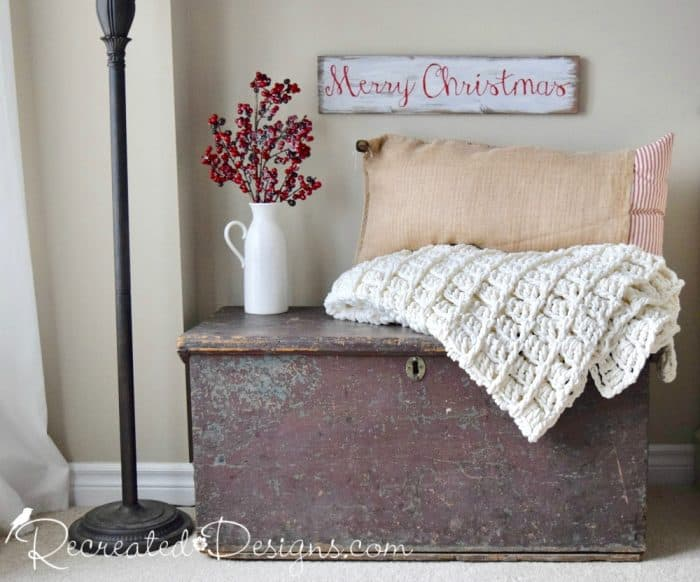 Christmas scene with red, white and cream