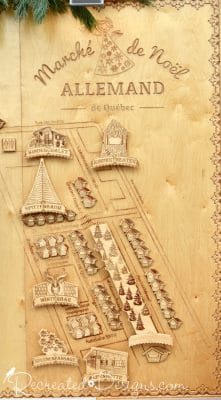 Wood map of German Christmas Market Quebec City, Canada