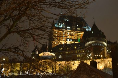 Chateau Frontenac at night in Old Quebec City, Canada at Christmas