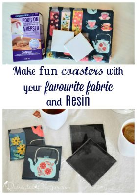 make fun coasters with fabric and Resin