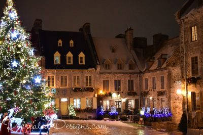 Square and shops at Christmas in Old Quebec City, Canada