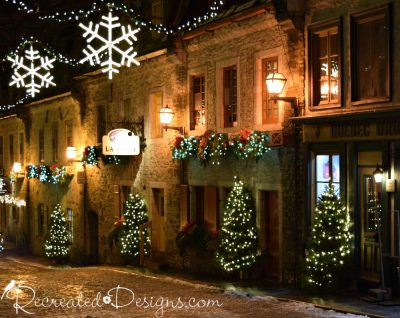 Christmas trees and lights in Old Quebec City, Canada