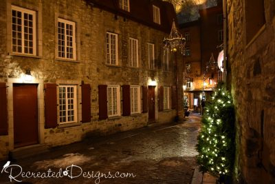 Cobblestone street at Christmas at Old Quebec City, Canada