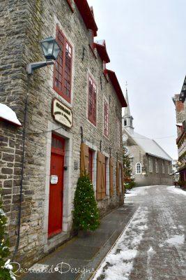 Historic stone church Old Quebec City