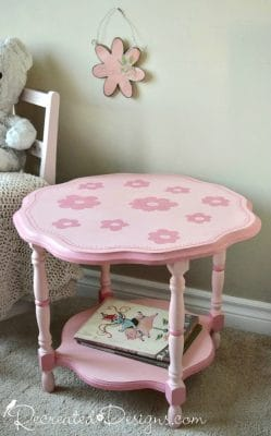 vintage flower table painted with Fusion Mineral Paint in English Rose and Fort York Red for darker pink