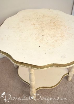 badly damaged vintage table top