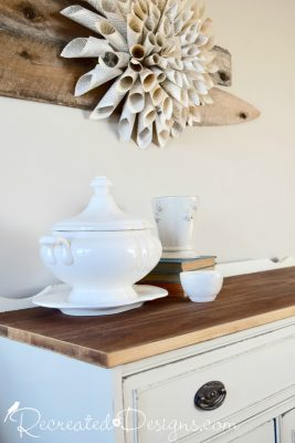 paper flower and vintage stoneware