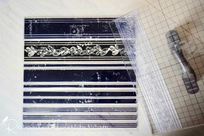 IOD decor stamps in Grainery Grain Sack Stripes
