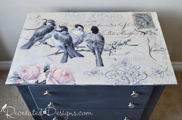 drawers upcycled with vintage inspired Postcard and bird paper