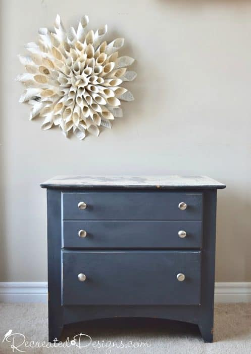 modern drawers upcycled with paint and vintage inspired bird paper