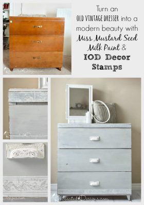 Turn an old dresser into a modern beauty with MMSMP and IOD Decor Stamps